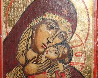Virgin Mary Eleusa Hand Painted Orthodox Icon
