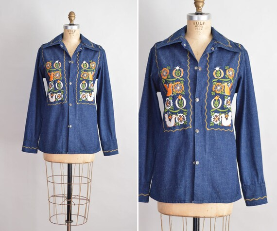70s Denim Jacket Embroidered Denim Shirt Mens Shirt S Etsy