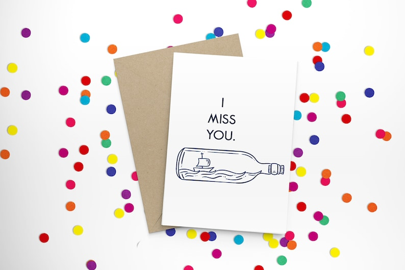 A2 Stationery Sailboat Printable Card Message In A Bottle I Miss You Card Long Distance Friend Instant Download Print Pen Pal