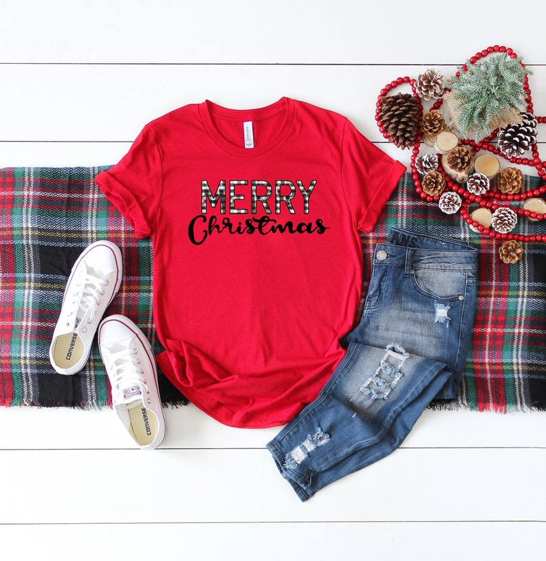 4ba21bf4014 Distressed Buffalo Check Plaid Merry Christmas T-Shirt Red