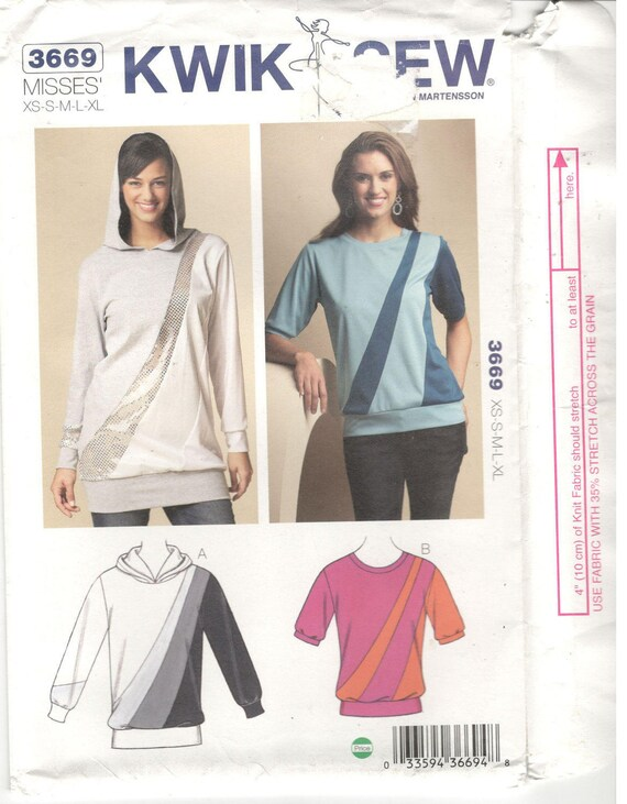 Kwik Sew 3669 Size Xs S M L Xl Womens Pattern Knit Etsy