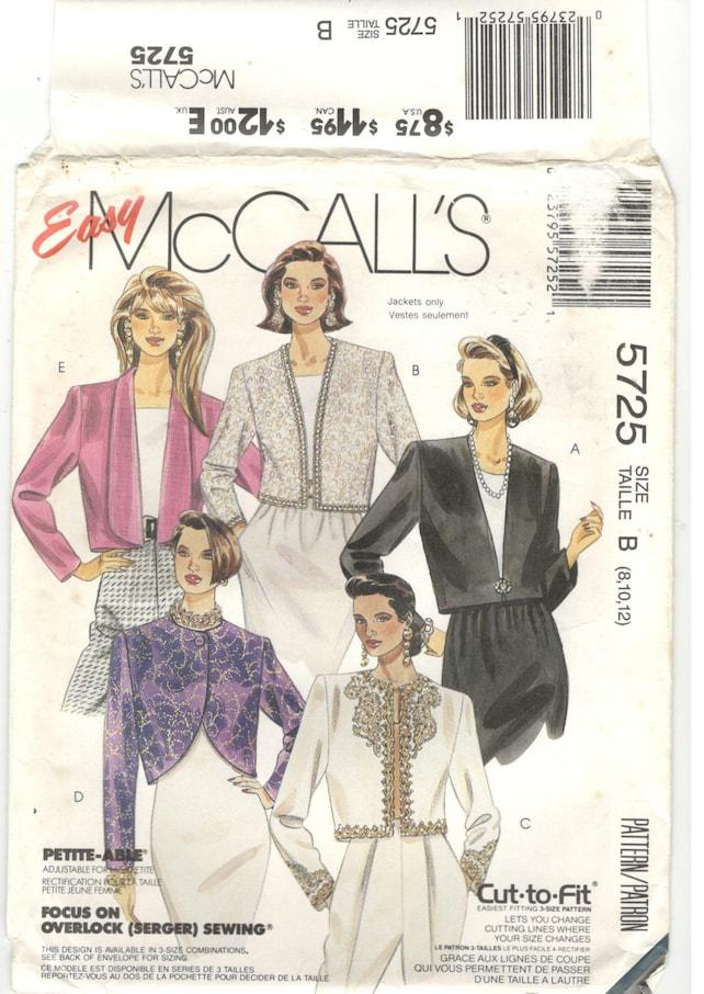 McCall\'s 5725 Size 8 10 12 Women\'s bolero jacket   Etsy