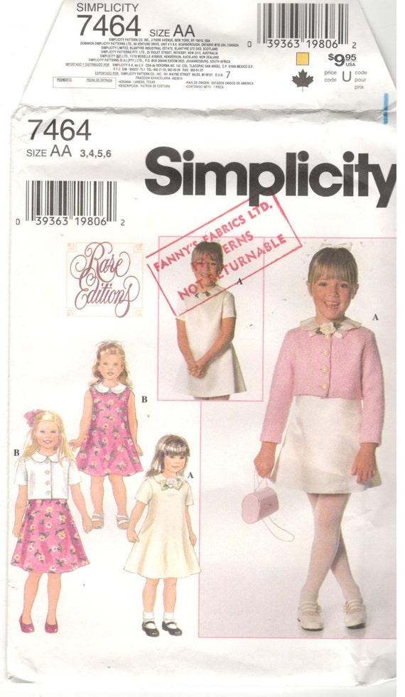 Einfachheit 7464 Größe 3 4 5 6. Schnittmuster: Mädchen | Etsy