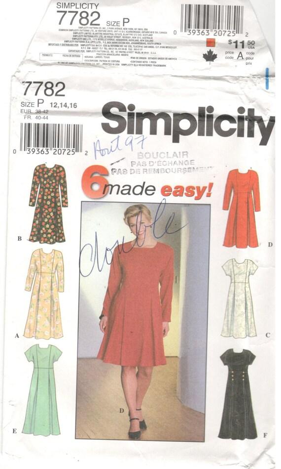 Simplicity 7782 Größe 12 14 16 Frauen Schnittmuster: | Etsy