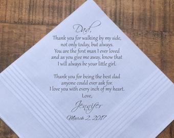 Wedding Handkerchief, Wedding Gift, Father of the Bride Gift, Father of the Bride Gift from Bride, Father of the Groom gift, PRINTED (H 026)