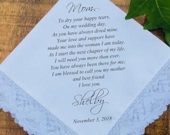 Mother of the Bride Gift, Mother of the bride hankerchief, mother of the groom, wedding handkerchief, Wedding Favors PRINTED (H 043)