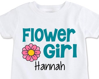 Flower Girl Gift, Asking Flower Girl Shirt, Wedding Party shirts, rehearsal, personalized gift for Baby Flower Girl Any name/colors (EX 414)