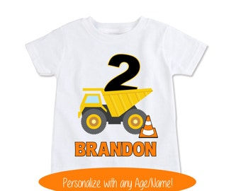 Dump Truck Shirt, Construction Birthday Shirt, Toddler Gift, Boy Baby Gift, 2nd Birthday, Gift for Kids shirt, Personalized Kids (EX 254)