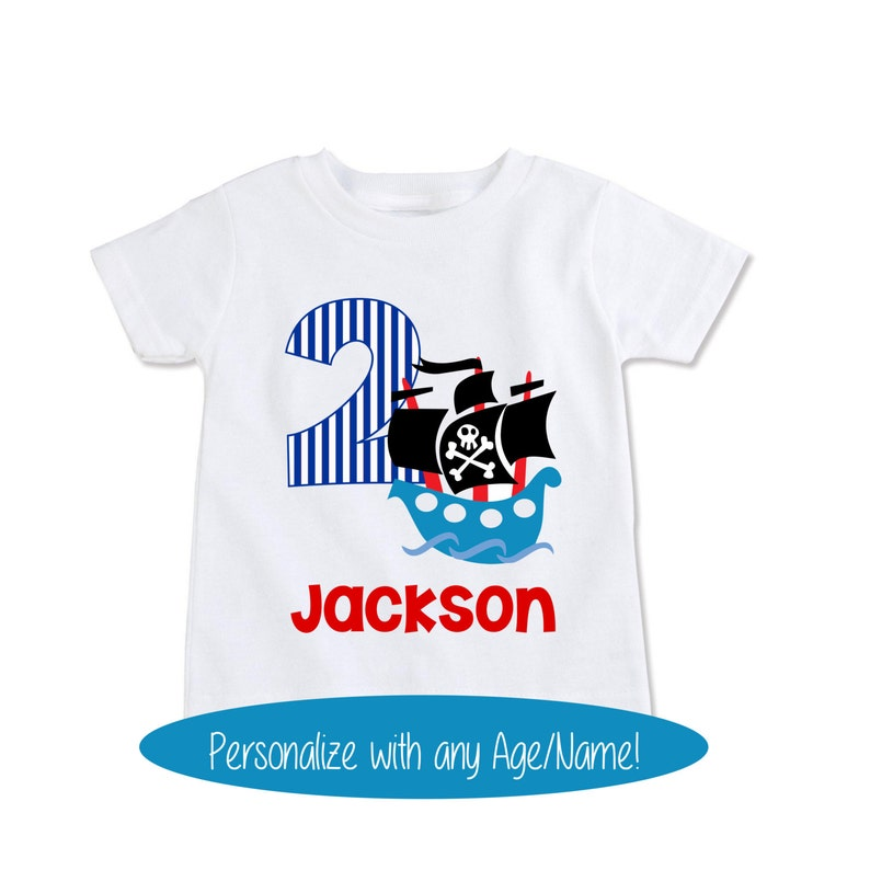 Pirate Birthday Shirt Toddler Pirates Party Kids Custom Name