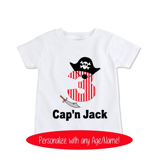 Personalized Pirate Birthday Shirt Boy Or Girls Attire For