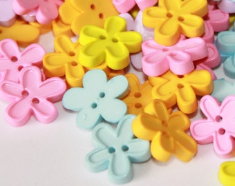 Flower buttons, Candy color flower shape buttons, soft pastel color flowers, tiny flower buttons, 2 hole plastic button embellishments