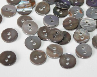 "50 MOTHER OF PEARL SHELL SMOKE SHADE BUTTONS 11.5 MM 7//16/"" Shirt Size 2hole"