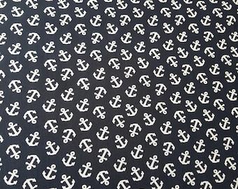 "Premium Printed Gauze Muslin 100/% Cotton Fabric Dressmaking Sea Anchor Print 58/"""