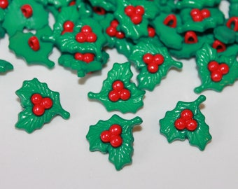 Christmas Holly Buttons, 10 beautiful festive craft buttons, red green Xmas buttons, shank plastic Christmas Holly novelty buttons