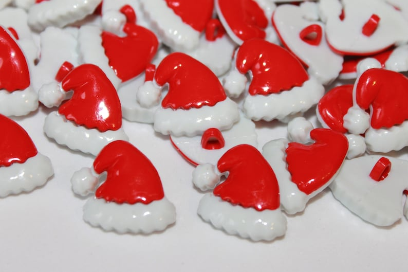 lot of 10 Christmas buttons red white shank buttons Novelty Santa Hat buttons Santa hat plastic buttons