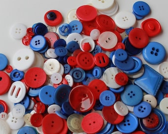Mixed shades red/white/blue craft buttons, 100 pcs lot, scrapbooking, button arts and crafts, lardge and small buttons