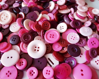 Assorted pink buttons, 100 buttons for arts and crafts, various size buttons, DIY supplies, buttons for baby girls, assorted pink buttons