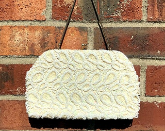 Beaded Purse/Clutch. Iridescent White Italian Beads, Silk Lined w/ Kiss-Lock Closure