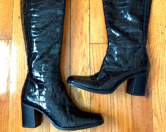 Faux Croc Boots. 90's Black Patent Leather Tall Boot.