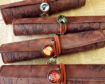 Game of Thrones Houses, A song of ice and fire, pen bag, pen case, pen roll, makeup bag, Makeup Brush Rolls,pen holder,cool gift for student
