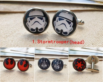 Star wars cuff links, sleeve button, cuff links for men, custom cufflinks