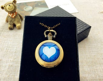 Blue heart Pocket Watch, Pocket Watch with two kinds of removable chain, Pocket Watch necklace, personality pocket watch