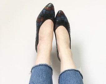 Vintage Shoes, Vintage Heels, Leather Shoes, Italian Leather, 80s Heels, Vintage Pumps, Retro Black Shoes, 37.5
