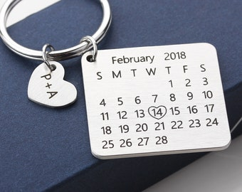 3309c039a535b Personalized Calendar Keychain - Hand Stamped Calendar - Special Day  Calendar - Anniversary