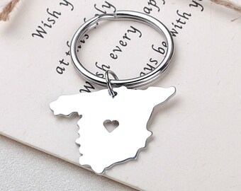 I heart Spain Keychain - Spain Keyring - Map Jewelry - Country Charm - Map  keychain-Valentine s Day Gift 733930f039