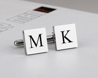 Silver Square Engraved Personalised Groomsman Wedding Cufflinks