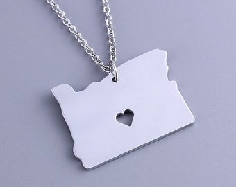 I heart Oregon Necklace - Oregon Pendant - State Charm - Map Jewelry - Map necklace