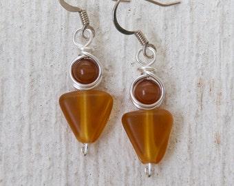 Amber Earrings, Earthy Earrings, Brown Earrings, Modern Jewelry, Geometric Earrings, Glass Earrings, Casual Wear, Brown Jewelry