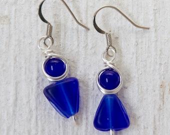 Cobalt Blue Earrings, Blue Glass Earrings, Cobalt Blue Jewelry, Triangle Earrings, Cobalt Blue Glass, Geometric Earrings, Glass Earrings
