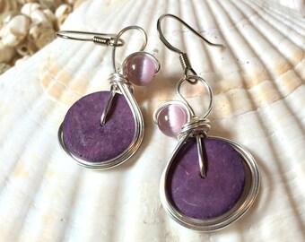 Lavender Earrings, Lilac Earrings, Coconut Shell Jewelry, Bead and Wire Earrings, Wirework Jewelry, Light Purple Earrings, Lavender Dangle