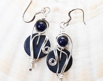 Navy Dangle Earrings, Navy Blue Earrings, Dark Blue Earrings, Dark Blue Jewelry, Funky Earrings, Boho Jewelry, Bohemian Earrings