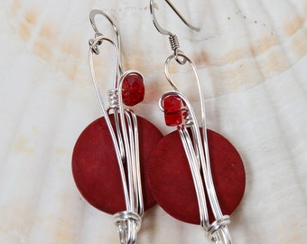 Big Red Earrings, Long Red Earrings, Red Jewelry, Colorful Jewelry, Gypsy Earrings, Funky Fashion, Dark Red Earrings, Long Dangle Earrings