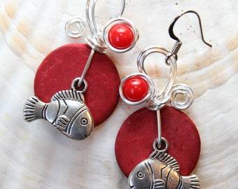 Fish Earrings, Aquatic Earrings, Nautical Earrings, Red Earrings, Fish Jewelry, Funky Earrings, Ocean Theme, Big Red Earrings,Beach Earrings
