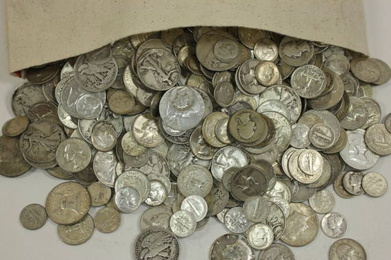 5 STANDARD OUNCES OF JUNK SILVER 90/% SILVER US COINS