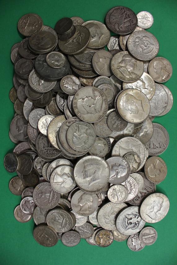 MAKE OFFER $5.00 Face Value Silver Junk Coins Ben Franklin Walking Washington