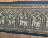 Sequins Embroidered Kalaga Tapestry Beads 6 Elephants Wall Hanging Thai Burmese 61 quot x23 quot