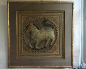 Framed Sequin Antique Embroidered Horse Wall Hanging Thai Burmese ready to hang on Silk Frame 25 quot x25 quot