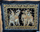 Sequins Embroidered Kalaga Tapestry Beads Elephants Wall Hanging Thai Burmese 23 quot x19 quot