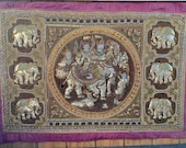 Sequins Embroidered Kalaga Tapestry Beads Elephants Sacred Royal Angels Wall Hanging Thai Burmese 53 quot X37 quot