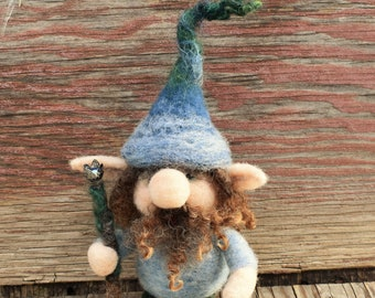 Needle Felted Gnome Ornament, OOAK Wool Sculpture Ornament, Scandinavian Tomte Ornament, Woodland Decor