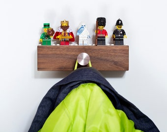 Short Hardwood Shelf for 5 to 7 Lego Minifigs with Hanger