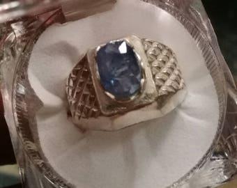 Natural Unheated Kashmir Sapphire 999 silver ring big stone.