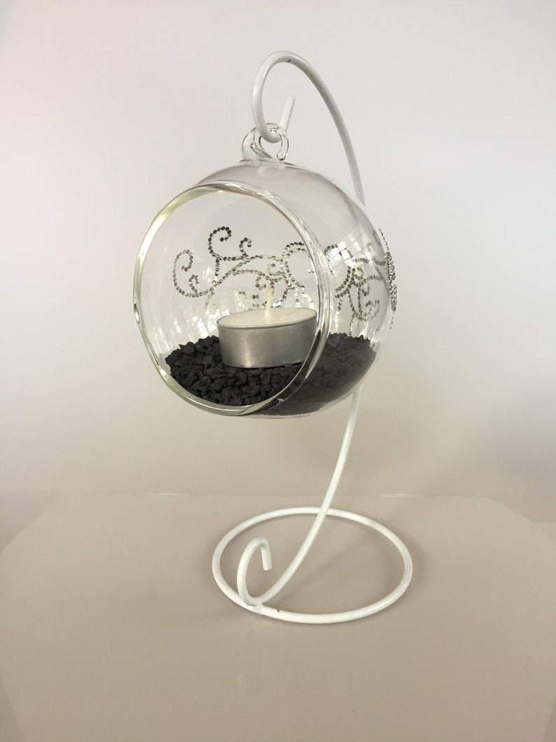 STAND INCLUDED black or white Silver rhinestone heart tribal design wraps around Hanging Glass Terrarium Softball size