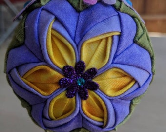 Purple Blossom Quilted Ornament