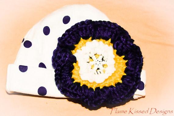 Hand Crocheted Flower on Stretch Cotton Newborn Cap