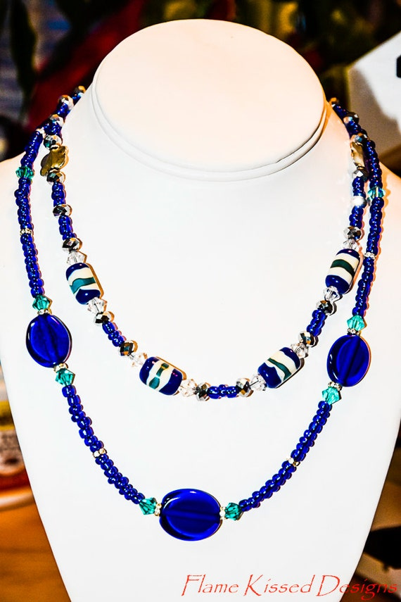 Handcrafted Artisan Lampwork Bead Double Strand Necklace